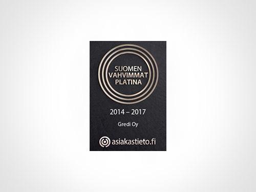 Gredille Suomen Asiakastiedon Platina -sertifikaatti 2014-2017