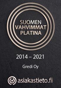 Gredi sai Suomen Vahvimmat Platina 2014-2021 -sertifikaatin